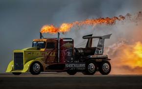 Wallpaper fire, speed, Truck