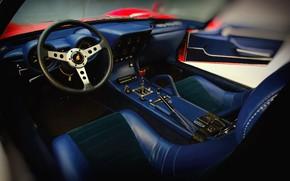 Picture Auto, Lamborghini, Machine, Salon, 1971, Leather, Car, The wheel, Supercar, Lamborghini Miura, Salon Lamborghini, The …
