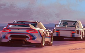 Picture Concept, Auto, Figure, Machine, BMW, Machine, Two, Art, Hommage, Bavarian, BMW 3.0 CSL, Hommage R, …