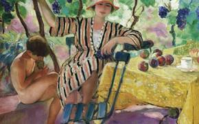 Picture picture, genre, Henri Lebasque, Henri Lebacq, The Garden In The Summer, Pierre and Nono under …