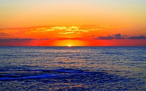 Wallpaper sea, sunset, horizon, glow