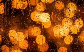 Wallpaper glass, drops, lights