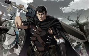 Picture sword, armor, anime, man, ken, blade, Berserk, manga, japanese, Guts