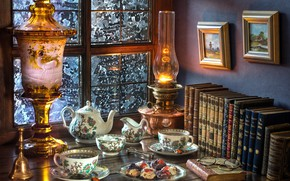 Picture style, tea, books, lamp, cookies, window, glasses, the tea party, pictures, set
