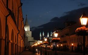 Picture the sky, flowers, lights, street, The Kremlin, mosque, twilight, Kazan, Tatarstan