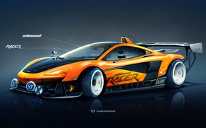 Wallpaper McLaren, Auto, Figure, Machine, Orange, Background, Car, Car, Art, Art, Sports, Rendering, Yasid Design, 570S, ...