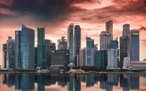 Picture the city, the evening, Singapore, skyscrapers