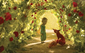Picture rose, flower, fox, boy, animated film, hana, animated movie, The Little Prince