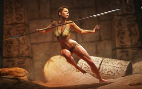 Picture warrior, The Challenge, woman, weapons, characters