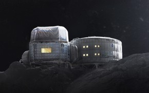 Picture hills, stars, station, base, Twardowskys Moon habitat back