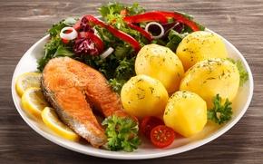 Picture lemon, salad, salmon, potatoes