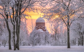 Wallpaper dawn, temple, Russia, The Church Of The Visitation, Murinsky Park, trees, winter, Saint Petersburg, snow, ...