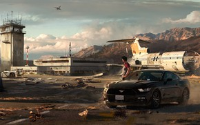 Wallpaper ford mustang, the airfield, Need for Speed: Payback, art, auto