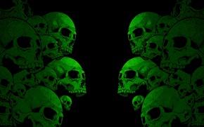Picture darkness, teeth, green, skull, a lot, black, orbit, human