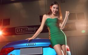 Picture look, Audi, Girls, Asian, beautiful girl, blue auto, beautiful dress