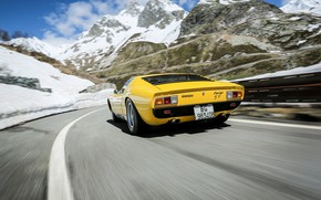 Picture Color, Auto, Road, Mountains, Yellow, Lamborghini, Rocks, Machine, 1971, Landscape, Car, Supercar, Lamborghini Miura, P400, …