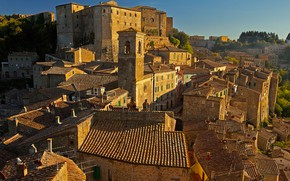 Picture roof, tower, home, Italy, Tuscany, Sorano