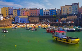 Picture home, boats, harbour, Wales, Tenby