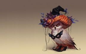 Picture holiday, Halloween, art, owl, suit, Halloween, Valeria Styajkina, 2d
