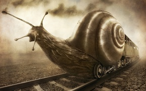 Wallpaper fantasy, train, snail, humor, art, rail