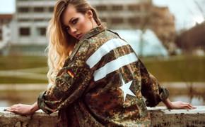 Picture look, pose, model, portrait, makeup, jacket, hairstyle, blonde, beauty, bokeh, Olya Alessandra, Andreas-Joachim Lins