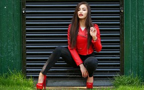 Picture girl, face, pose, style, lipstick, jacket