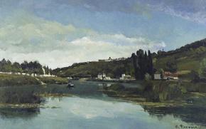 Picture landscape, river, picture, Camille Pissarro, The banks of Marne in Cheneviere