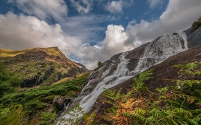 Picture mountains, waterfall, stream, Wales, Snowdonia
