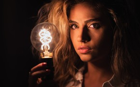 Picture look, light bulb, girl, face