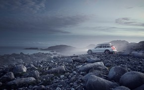 Picture fog, stones, coast, Cross Country, Volvo V90