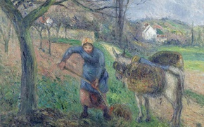 Picture picture, genre, Camille Pissarro, Peasant woman with a Donkey. PONTOISE