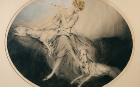Picture elegant, 1923, Friends, Louis Icart, art Deco, etching and aquatint, woman with dogs