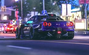 Wallpaper night, lights, street, Nissan, GT-R, Skyline, virtual tuning, Khyzyl Saleem