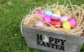 Picture chocolate, eggs, Easter, socket, hay, box, Holiday