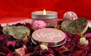 Picture love, the inscription, romance, candle, petals, hearts, Valentine's day