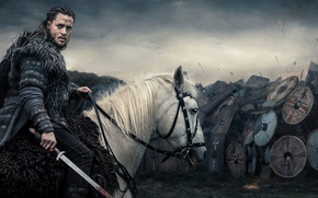Picture rawhide armor, shield, long hair, blade, prince, Ragnar, man, warrior, viking, war, armor, Alexander Dreymon, ...