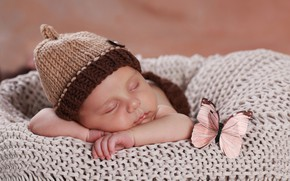 Picture butterfly, sleep, sleeping, girl, plaid, cap
