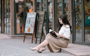 Picture girl, street, book