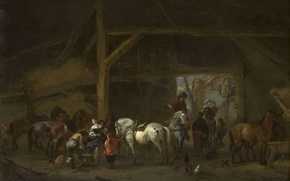 Picture animals, tree, oil, picture, Philips Bowerman, Horses in the Stable