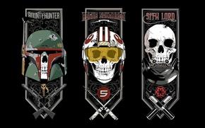 Picture rogue squadron, revolver, Star Wars, bounty hunter, rifle, pearls, pilot, Darth Vader, sith lord, gun, …