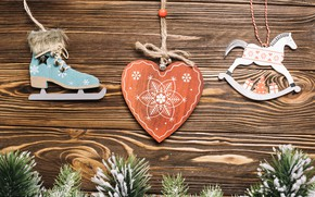 Picture decoration, holiday, New Year, christmas, heart, with, wooden, decor, composition