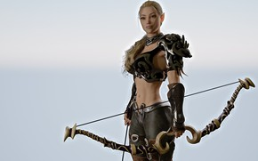 Picture girl, weapons, bow, elf