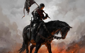 Wallpaper armor, flag, weapon, ken, horse, sword, blade, Kingdom Come: Deliverance, man, warrior