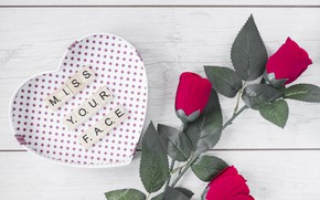 Picture flowers, background, holiday, gift, roses, hearts, Valentine's day, Valentine's day
