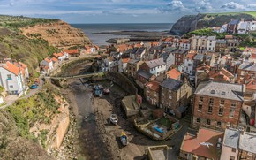 Picture sea, the sky, clouds, landscape, bridge, rocks, coast, England, home, boats, horizon, channel, Staithes