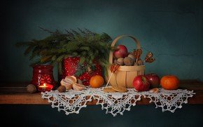 Picture winter, basket, apples, tree, new year, Christmas, cookies, shelf, lollipops, nuts, still life, candle holder, ...