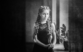 Picture girl, sill, braids, b & W photo, the flower on the window