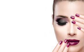 Picture girl, eyelashes, style, makeup, lipstick, shadows, model, lips, face, manicure, makeup