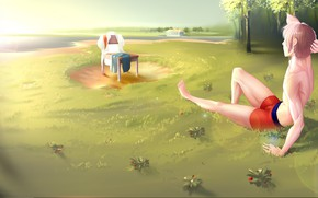 Picture art, chair, guy, tans, Everlasting Summer