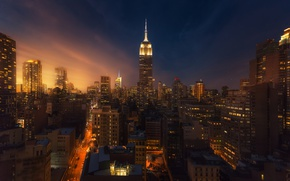 Picture night, the city, lights, home, the evening, New York